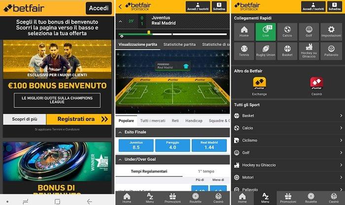 App Betfair disponibile per Mobile per Android