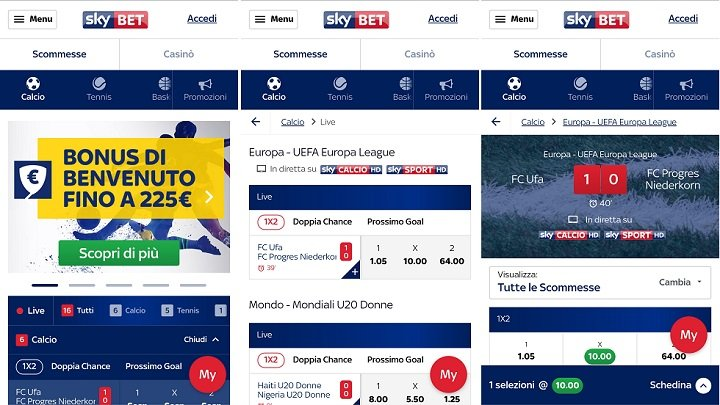 Sky Bet Android mobile Applicazione