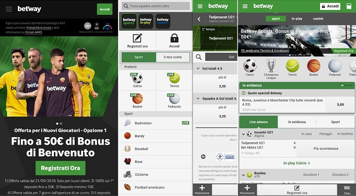 App Betway disponibile per Mobile per Android