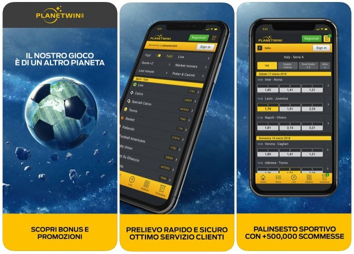 Planetwin365 app android APK mobile Italia