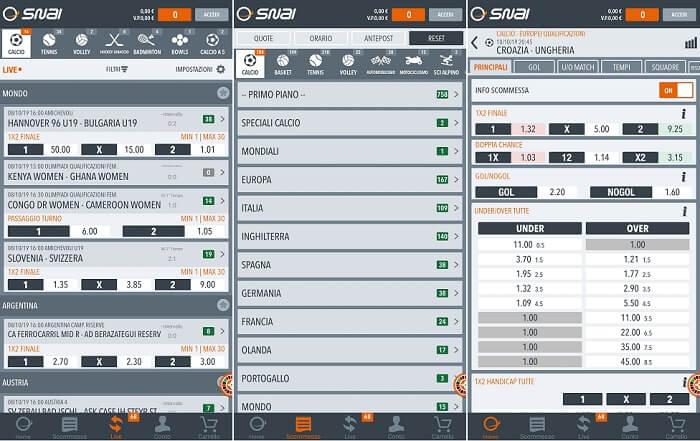 SNAI Android mobile Applicazione