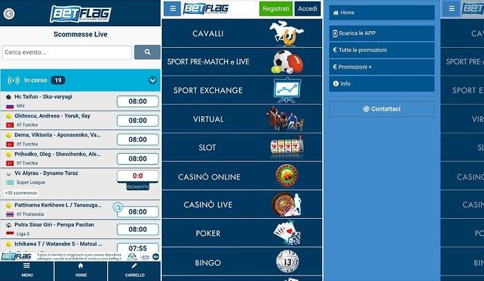 scarica l'APK per Android sul sito mobile di Betflag