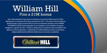 William Hill Bonus Benvenuto Scommesse